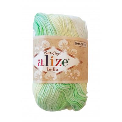 Příze ALIZE BELLA BATIK - 2131 bílá zelená žlutá