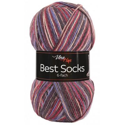 Příze BEST SOCKS 6 nitka - 7037 červená, modrá, fialová