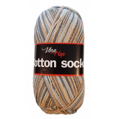Příze COTTON SOCKS - 7906 oranžová, šedá