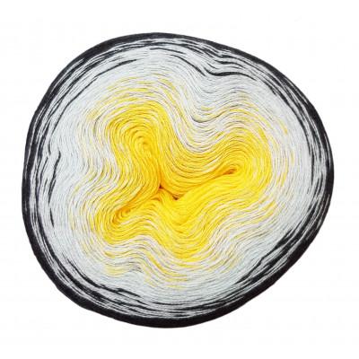 Příze DUHOVÁ FANTAZIE - 5434 žlutá, šedá, černá