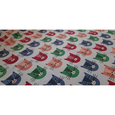 Teplákovina - usměvavé kočky - sv. modrá
