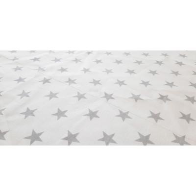 Látka bavlněná - šedé hvězdy na bílé