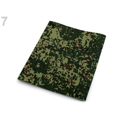 Nažehlovací záplata maskáčová 17 x 43 cm - zelená khaki
