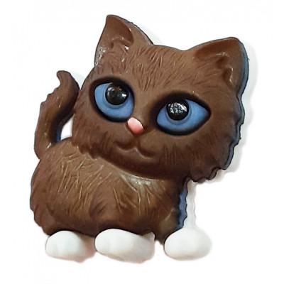 Knoflík plastový - Kotě hnědé