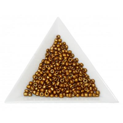 Rokajl 8/0 - 3 mm - metalický, neprůhledný - QK35 tm. zlatá