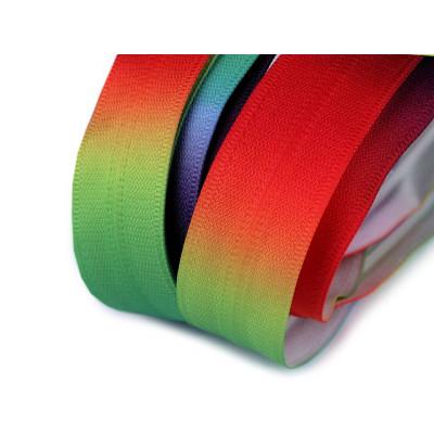 Duhový zip spirálový skrytý 5 mm - multikolor