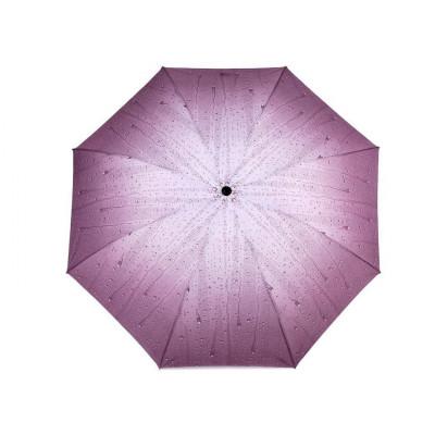 Dámský skládací deštník - kapky 2 sv. fialová