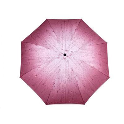 Dámský skládací deštník - kapky 3 růžová