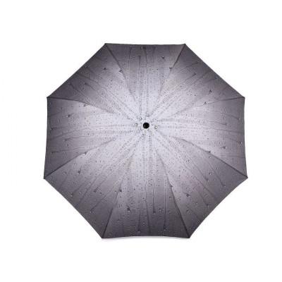 Dámský skládací deštník - kapky 6 šedá
