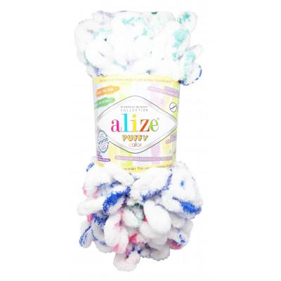 Příze PUFFY COLOR - 6245 bílá, růžová, modrá, zelená