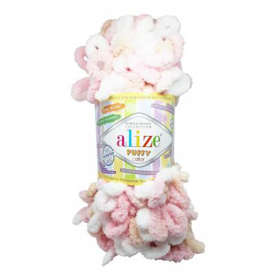 Příze PUFFY COLOR - 6046 bílá, růžová, sv. hnědá