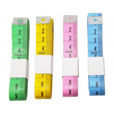 Krejčovský metr - 150 cm - složený - mix barev