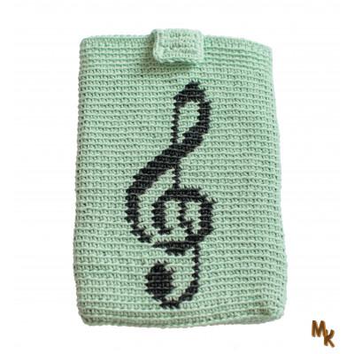 Obal na tablet tapestry zelenkavý houslový klíč